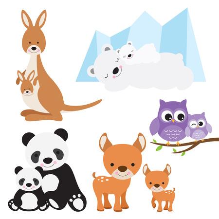 kangaroo mother: illustration of animal and baby including kangaroo, polar bear, owl, panda and deer.