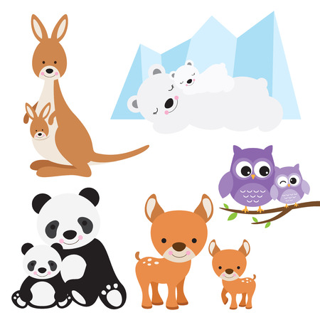 illustration of animal and baby including kangaroo, polar bear, owl, panda and deer.