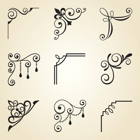 Vector illustration of decorative corner frame set. Иллюстрация