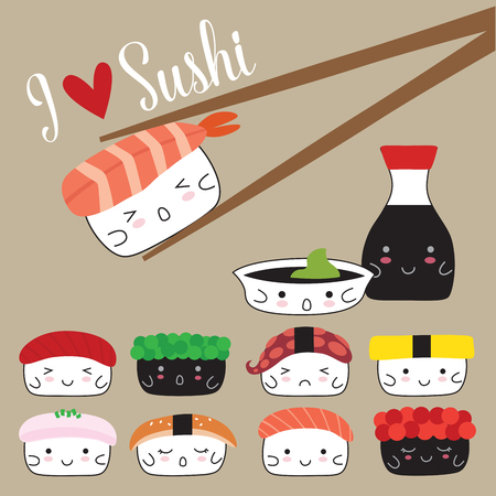 Cool Illustration of a Sushi and Soy Sauce. Japanese Food.