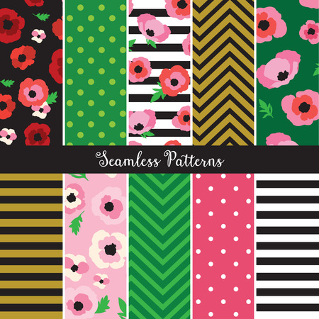 Vector illustration of poppy flower pattern set. Illustration