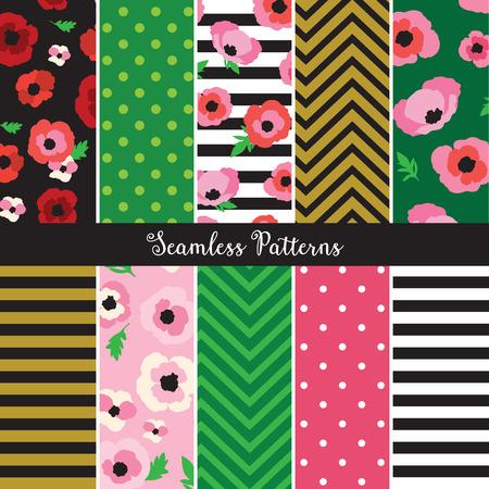 flower patterns: Vector illustration of poppy flower pattern set. Illustration