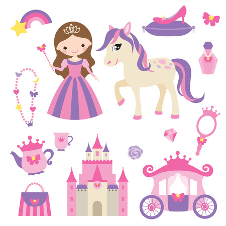 Ilustración vectorial de la princesa, el castillo, el transporte, el potro y la niña de accesorios conjunto.