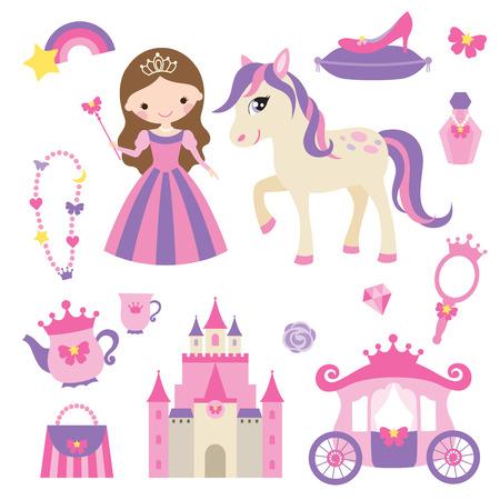 Vektor-Illustration von Prinzessin, Schloss, Wagen, Pony und Mädchen Zubehör-Set.