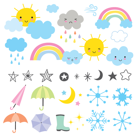 Vector illustration of weather forecast graphics.