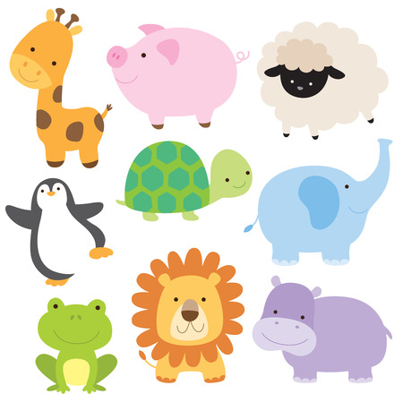 Vector illustration of cute baby animal including giraffe, pig, turtle, sheep, penguin, elephant, frog, lion and hippo. Иллюстрация