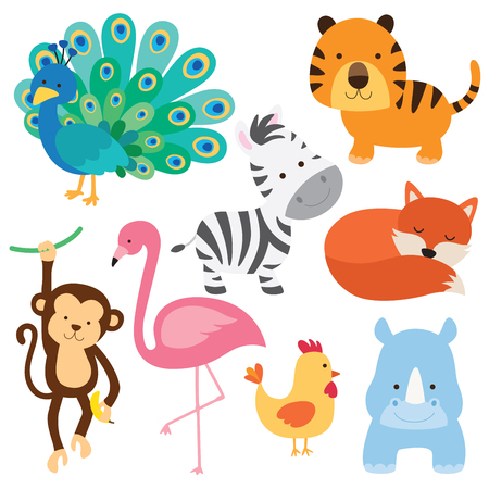 Vector illustration of cute baby animal including peacock, flamingo, zebra, tiger, fox, monkey, chicken and rhino.