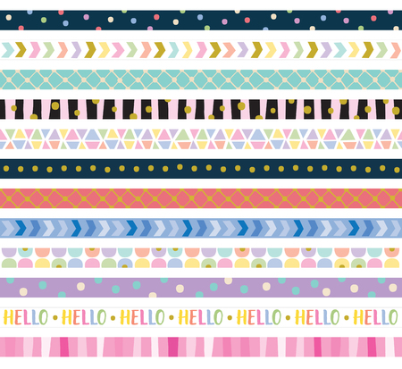 Vector illustration of cute decorative border frame set. Imagens - 78166408