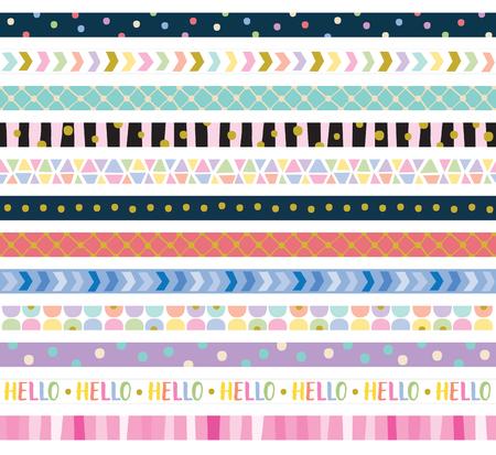 Vector illustration of cute decorative border frame set.