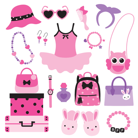 closet: Vector illustration of little girl fashion accessories including handbags, hat, sunglasses, necklace, bracelet, backpack, slippers. Illustration