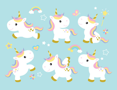 Vector illustration of cute unicorns. Stock Vector - 79082098
