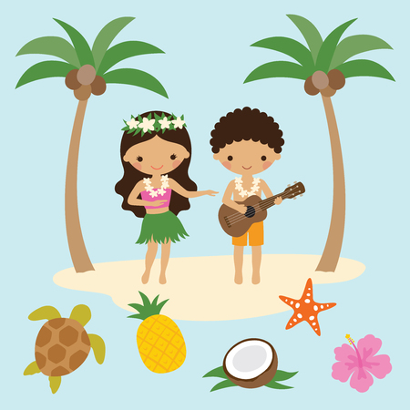 Vector illustration of girl hula dancer and boy playing ukulele guitar in Hawaii with beach elements.