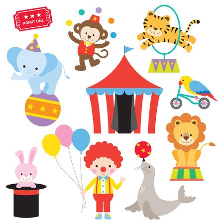 Vector illustratie van schattige en kleurrijke circus dieren.