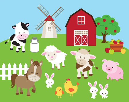Vector illustration of farm animals such as cow, horse, pig, sheep, chicken, bull, rabbit with barn and windmill.