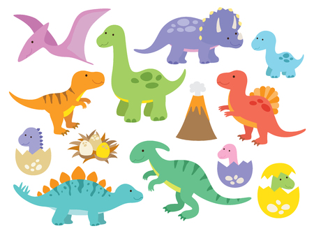 Vector illustration of dinosaurs including Stegosaurus, Brontosaurus, Velociraptor, Triceratops, Tyrannosaurus rex, Spinosaurus, and Pterosaurs. Illustration