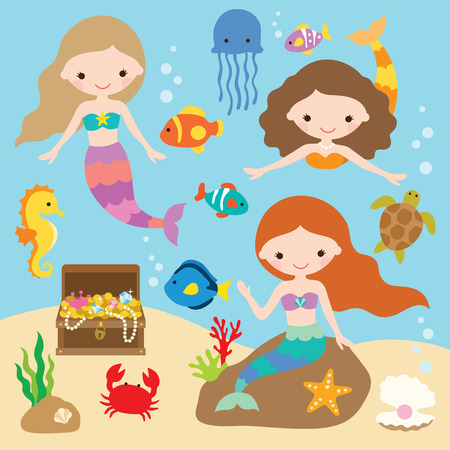Vector illustration of cute little mermaids with fishes, jellyfish, starfish, crab, turtle, seahorse, shells, and treasure chest under the sea. Stock Illustratie