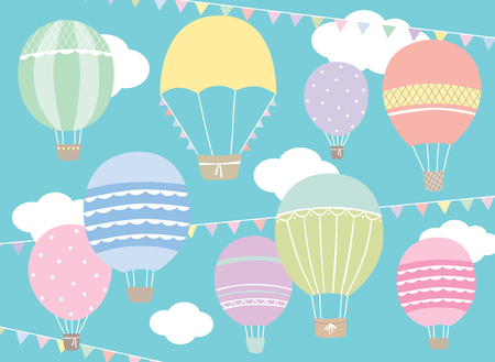 Vector illustration of hot air balloon set in pastel colors. Illustration