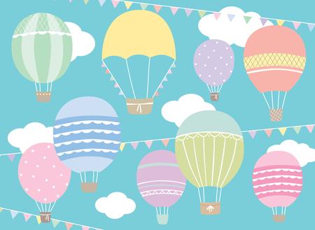 Vector illustration of hot air balloon set in pastel colors. Ilustração