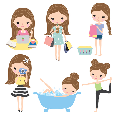 Vector illustration of girl or woman's lifestyle including shopping, working, studying, doing laundry, doing yoga, pampering, taking bath. Vectores