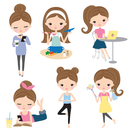 Vector illustration of woman or girl in different lifestyle activities such as cooking, working, reading, cleaning, doing yoga, texting. Illustration