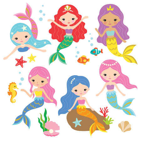 Vector illustration of cute mermaid princess with colorful hair and other under the sea elements. Иллюстрация