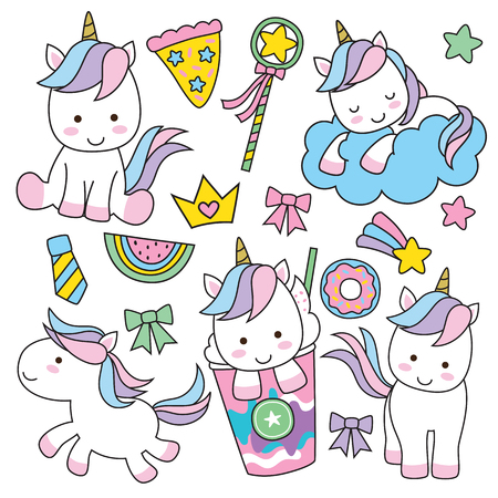 Cute baby unicorn vector illustration in pastel rainbow colors. 일러스트