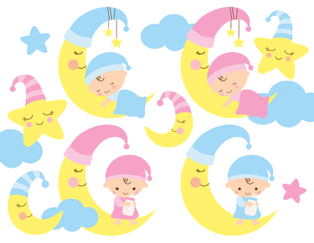 Baby on the moon vector illustration. Cute baby boy and girl sleeping and sitting on the moon. Illustration