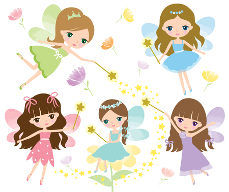 Vector set of little fairies in colorful dress with watercolor wings, magic wand and flowers.
