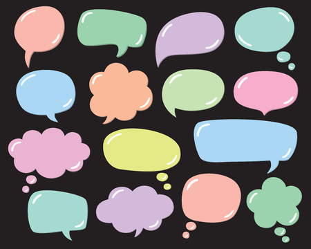 Vector set of speech bubbles, thought bubbles, text bubble, conversation bubbles, with glossy balloon effect.