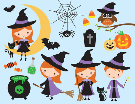 Cute halloween vector with little witch and wizard, black cat, spider, owl, pumpkin, bat, skull, and other halloween graphic elements.