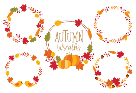 Autumn or Fall Wreath Frame illustration with leaves, pumpkins, and birds. Ilustracja
