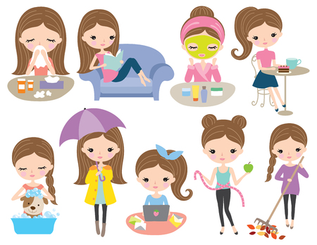 Lindo cabello marrón chica viven conjunto en diversas actividades como la lectura, trabajo, rutina de belleza, baño de perro, dieta, rastrillar las hojas, estar enfermo, beber café. Ilustración de vector