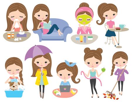 Cute brown hair girl living set in various activities such as reading, working, beauty routine, dog bathing, dieting, raking leaves, being sick, drinking coffee.