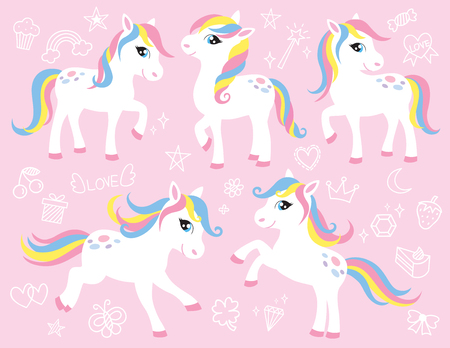 Cute white little pony or horse vector illustration set with cute graphic elements such as rainbow, star, moon, cupcake, crown, diamond, etc.