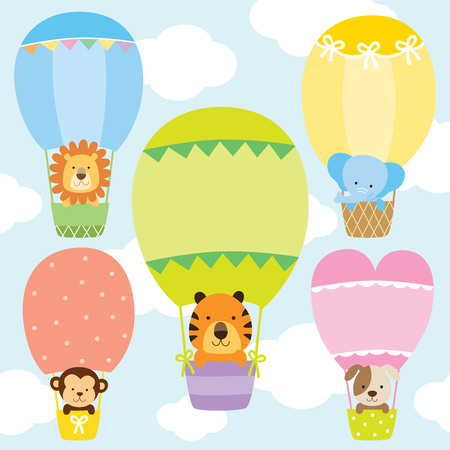 Animals in hot air balloons vector illustration set. Lion, tiger, monkey, elephant, and dog on cute pastel hot air balloons. Çizim