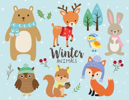 곰, 사슴, 토끼, 토끼, 올빼미, 다람쥐, 조류 및 여우 겨울 옷을 입고 등 귀여운 겨울 동물의 벡터 일러스트 레이 션.
