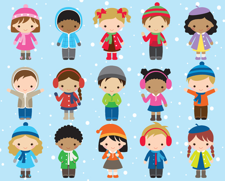 Cute kids children in winter dress vector illustration. Boy and girl in colorful winter outfit. Illustration