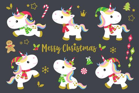 귀여운 크리스마스 unicorns 벡터 그림 설정 플러스 다른 장식 크리스마스 장식품. 일러스트