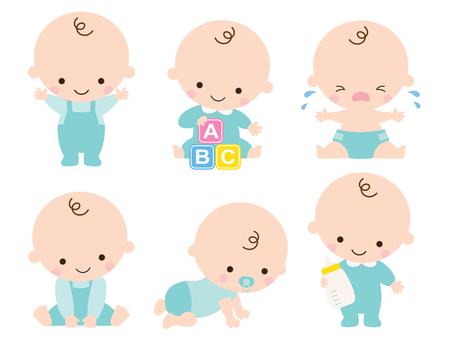 Ilustracja cute baby lub toddler boy w różnych pozach, takich jak stojąca, siedząca, płacząca, bawiąca się, czołgająca się. Ilustracje wektorowe
