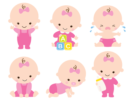Cute baby or toddler girl illustration.