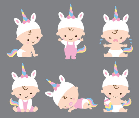 Vector illustration of baby girl in unicorn costume with various poses