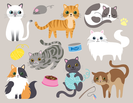 Cute kitty cat vector illustration set with different cat breeds, toys, and food. 版權商用圖片 - 92483936