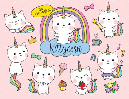 Cute white cat unicorn with rainbow horn and tail set Stock Illustratie