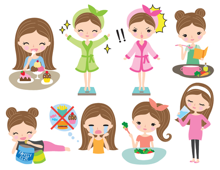 Cute girl or women with healthy weight loss diet vector illustration. Women healthy eating lifestyle set.