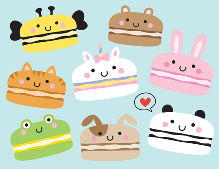 Vector illustration of cute macarons with animal faces including unicorn, panda, rabbit, bunny, bear, cat, dog, bee.