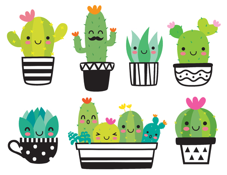 Cute succulent or cactus plant with happy face vector illustration set. Stock Illustratie