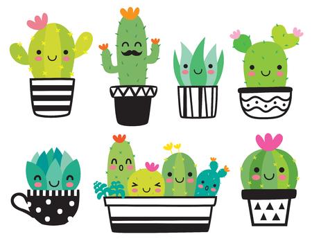 Pianta succulenta o cactus sveglia con l'insieme dell'illustrazione di vettore del fronte felice. Vettoriali