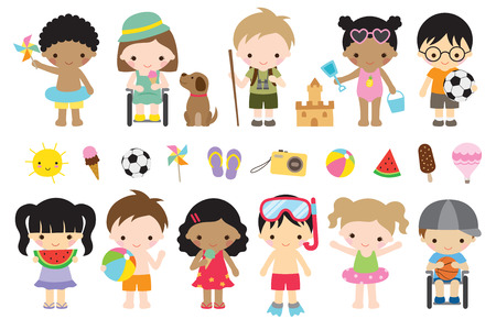 Vector illustration of cute summer kids with fun actives such as playing at the beach, camping, playing sports, having ice cream. Reklamní fotografie - 95967408
