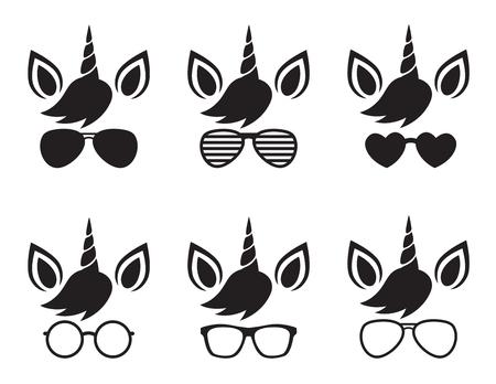 L'unicorno sveglio che indossa gli occhiali da sole e gli occhiali da sole affrontano l'illustrazione di vettore della siluetta. Archivio Fotografico - 96366728
