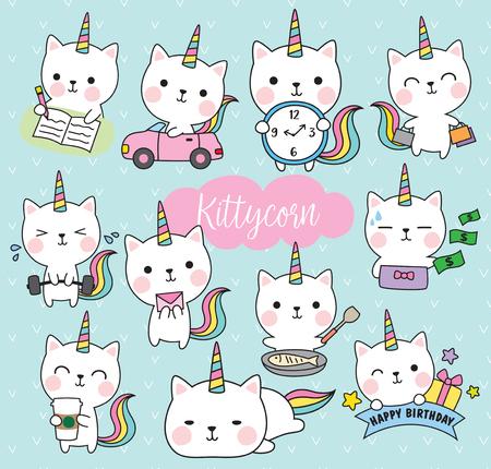 Vector illustration of cute white cat unicorn